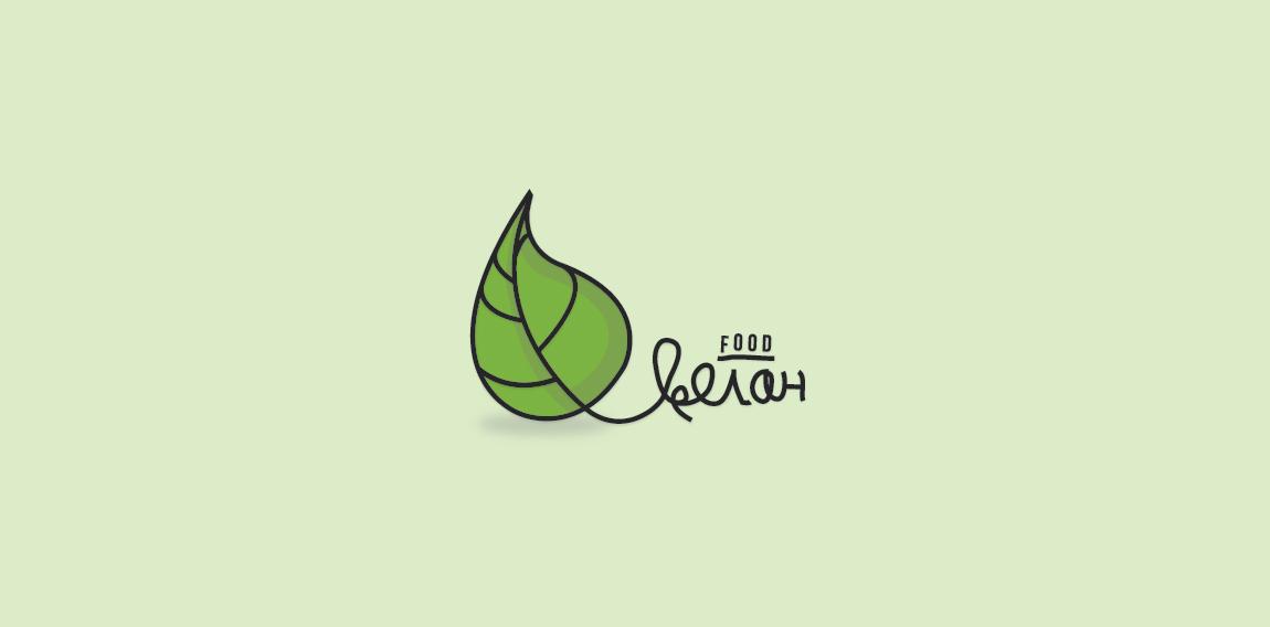 Cyrillic vegan food logo